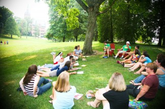 Outdoor class on a sunny day.