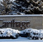 Carthage College Sign in Winter