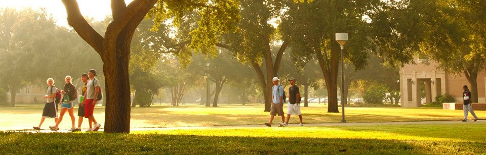 Students Walking Across Campus at Texas Lutheran University