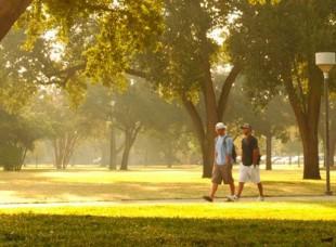 Students Walking Across Campus at Texas Lutheran University