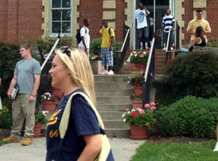 Students Talking on Campus at Thiel College